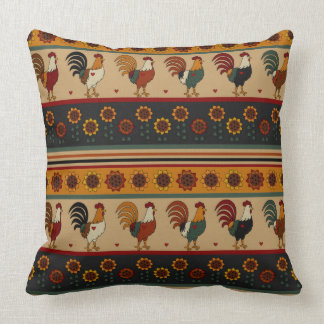 Striped Floral Rooster Pillow