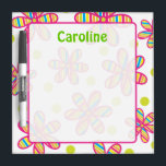 """Striped Flower Dry Erase Board<br><div class=""""desc"""">Perfect for the kitchen,  office or dorm room! Click &quot;customize it&quot; to change the font options or add text. Coordinating items available at www.gem-ann.com (Zazzle store).</div>"""