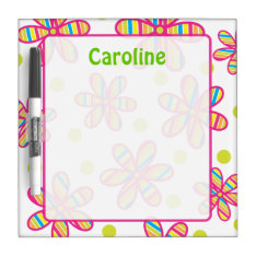 Striped Flower Dry Erase Board at Zazzle