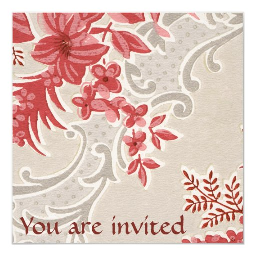 Striped Flowers Vintage Wallpaper Invitation
