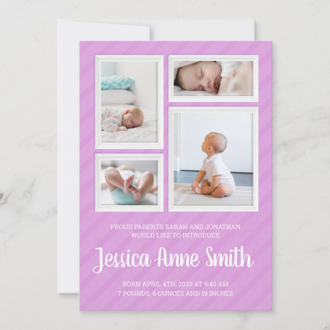 Striped Frame Collage Pink Birth Announcement