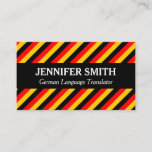 This business card design could be used by a professional such as a German language translator, German language tutor, or German language instructor. The name, profession and contact details can be personalized. It also features black, red and yellow stripes, inspired by the colors of the German national flag.