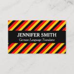 [ Thumbnail: Striped German Language Translator Business Card ]