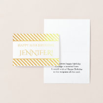 "Striped Gold Foil ""Happy Birthday, Jennifer!"" Card"