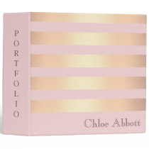 Striped Gold Metallic Design Portfolio 3 Ring Binder