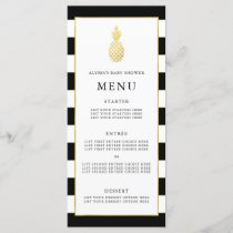 Striped Golden Pineapple Tropical Baby Shower Menu