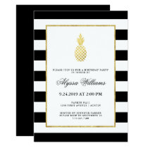 Striped Golden Pineapple Tropical Birthday Party Invitation