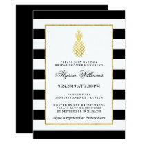 Striped Golden Pineapple Tropical Bridal Shower Invitation