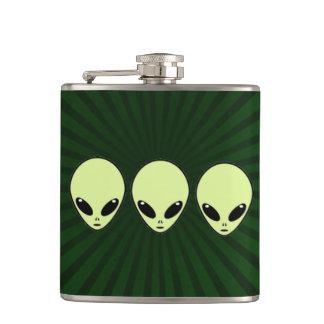 Striped Green Aliens Flask
