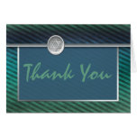 Striped Green and Blue Bar Mitzvah Thank You Card Cards