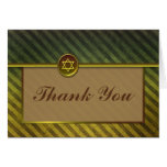 Striped Green and Brown Bar Mitzvah Thank You Card Greeting Cards