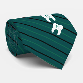 Striped Green Dentistry Initialized Teeth Neck Tie