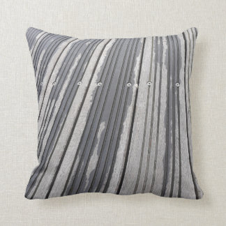Striped grey/brown photo cushion