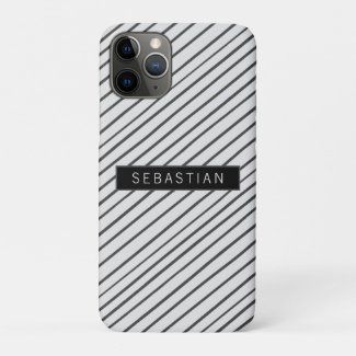 Striped Grey White Pattern Personalized Case-Mate iPhone Case