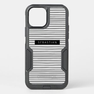 Striped Grey White Pattern Personalized OtterBox iPhone Case