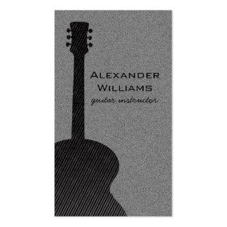 Striped Guitar Music Business Card, Black Business Card