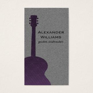 Striped Guitar Music Business Card, Purple Business Card