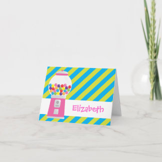 Striped Gumball Machine Personalized Notecard