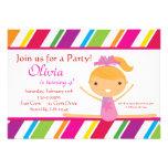 Striped Gymnast Birthday Party Invitation