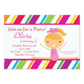 "Striped Gymnast Birthday Party Invitation 5"" X 7"" Invitation Card"