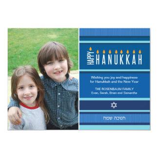 "Striped Hanukkah Candles 5"" X 7"" Invitation Card"