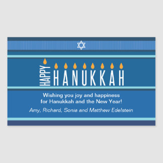 Striped Hanukkah Candles Rectangular Sticker