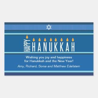 Striped Hanukkah Candles Rectangle Sticker