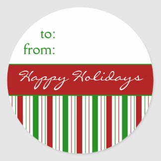 Striped Happy Holidays Gift Tags Round Stickers