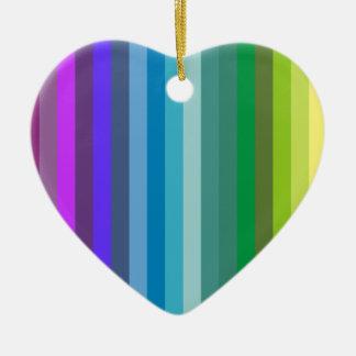 Striped Heart Ceramic Ornament