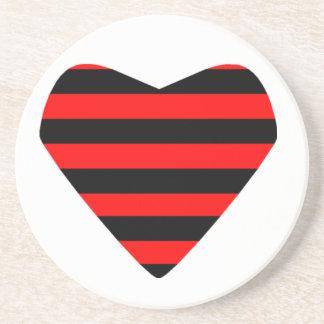 Striped Heart Beverage Coaster