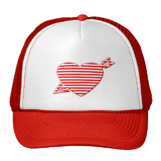 Striped Heart Mesh Hats