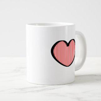 Striped Heart Large Coffee Mug