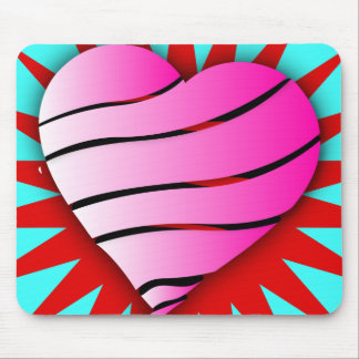 Striped heart mouse pad
