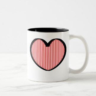 Striped Heart Two-Tone Coffee Mug