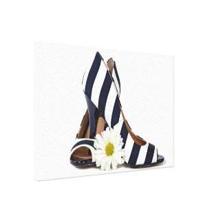 striped high heels with white daisy canvas print