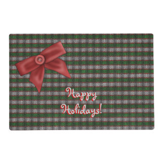 Striped Holiday Ribknit Laminated Placemat