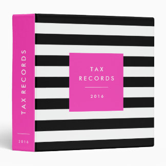 Striped Hot Pink Tax Records 3 Ring Binder
