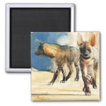 Striped Hyaenas 2010 2 Inch Square Magnet
