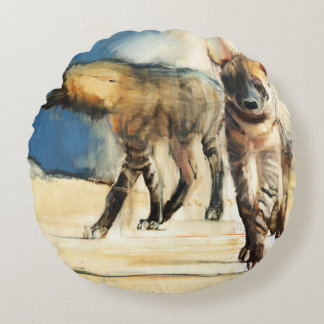 Striped Hyaenas 2010 Round Pillow