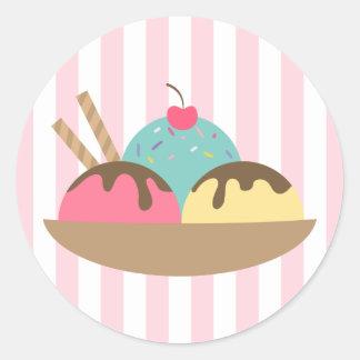 Striped Ice Cream Sundae Round Sticker