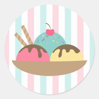 Striped Ice Cream Sundae Round Sticker (2)