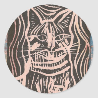 Striped Kitty Sticked Classic Round Sticker