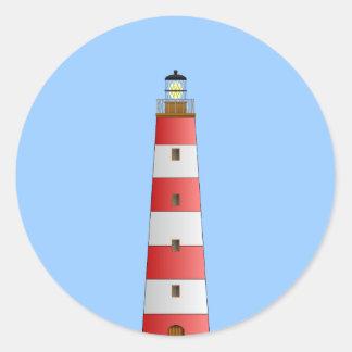 Striped Lighthouse Classic Round Sticker