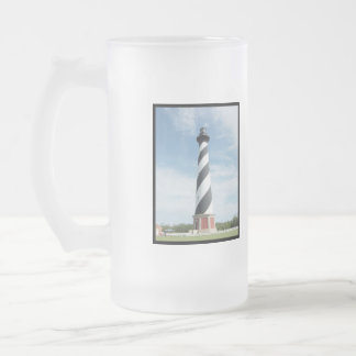 Striped Lighthouse Frosted Beer Mug
