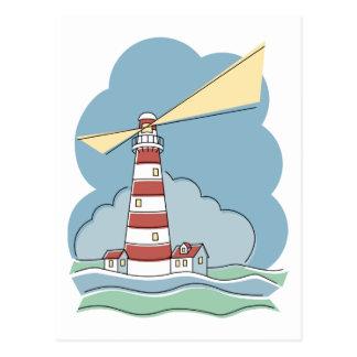 Striped Lighthouse Postcard