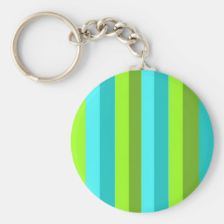 Striped Lime and Aqua Basic Round Button Keychain