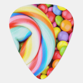 Striped Lollipop And Multicolored Smarties Guitar Pick