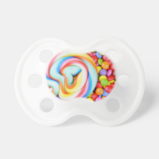 Striped Lollipop And Multicolored Smarties Baby Pacifiers