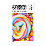 Striped Lollipop And Multicolored Smarties Postage Stamp