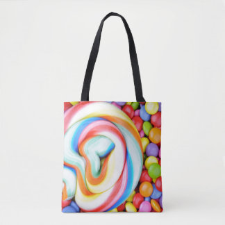 Striped Lollipop And Multicolored Smarties Tote Bag